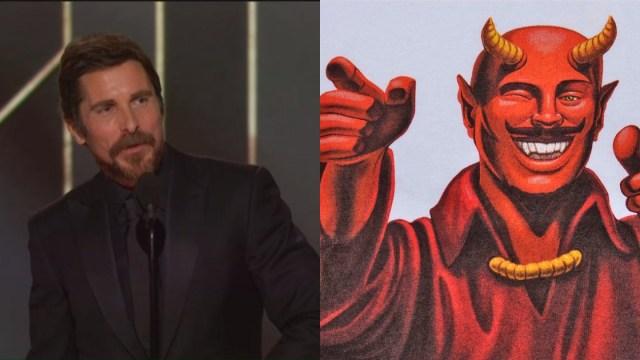 Christian Bale Agradece Satán Globo De Oro, Globos De Oro, Christian Bale Satán, Satán, Iglesia De Satán, Vice