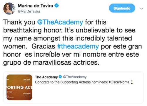 Marina de Tavira celebra nominación en el Oscar
