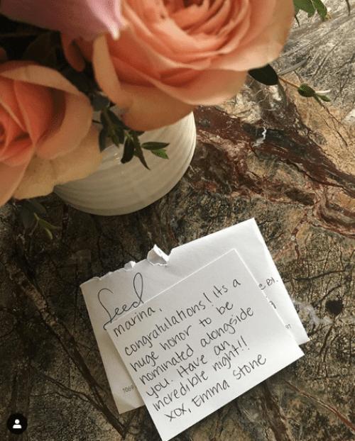 Emma Stone le envía flores a Marina de Tavira