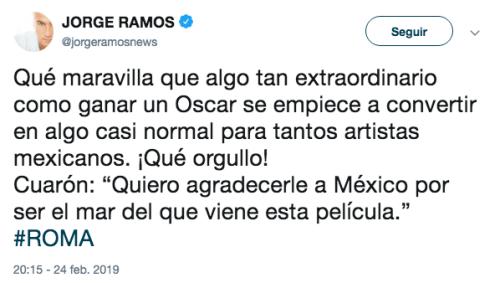 Famosos reaccionan al triunfo de Roma en el Oscar