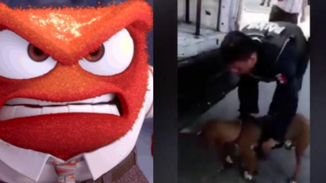 Policías arrastran a perro atado a una patrulla