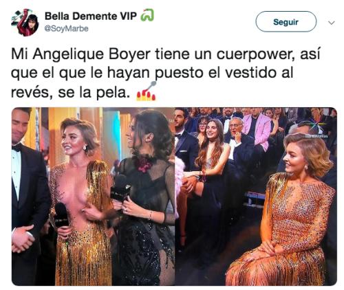 Angelique Boyer usa vestido al revés