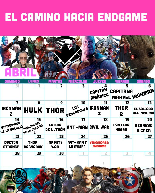 Calendario de peliculas de avengers