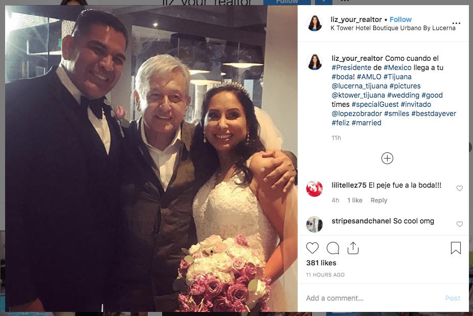 AMLO se cuela a una boda en hotel de Tijuana
