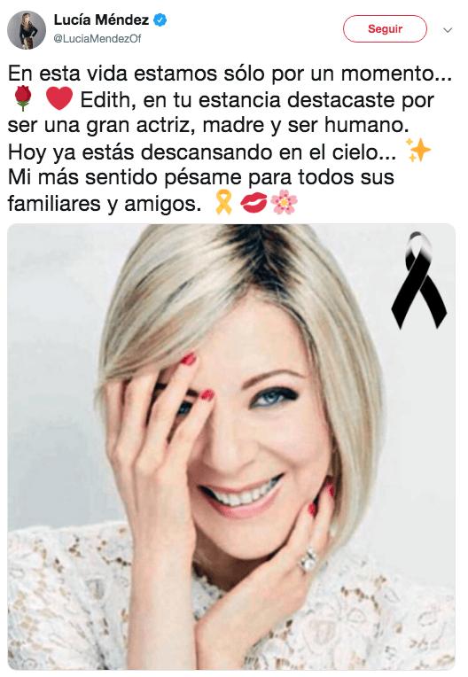 Famosos reaccionan a la muerte de Edith González