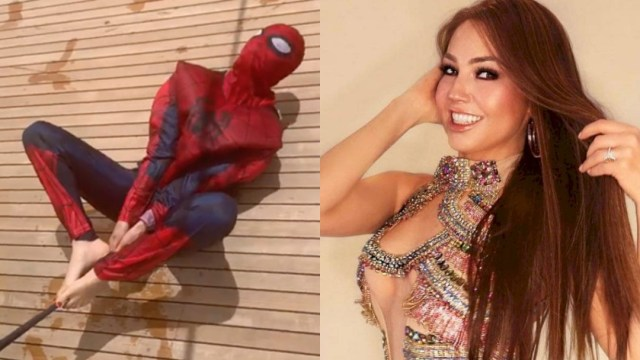 Thalía, Thalía Spiderman, Thalía Italia, Thalía Disfrazada Spiderman, Thalía Se Disfraza De Spiderman, Thalía Spiderman Homecoming