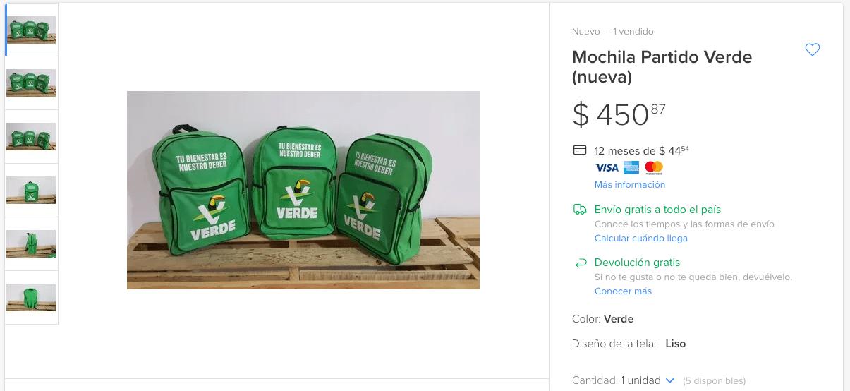 Venden mochilas del Partido Verde en mil pesos en Internet