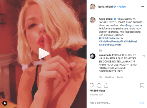 25/09/2019, Itati-cantoral-burla-frida-sofia, Screenshot Instagram Itati Cantoral