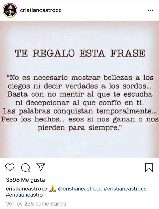 Cristian Castro defiende a su madre de Yolanda Andrade