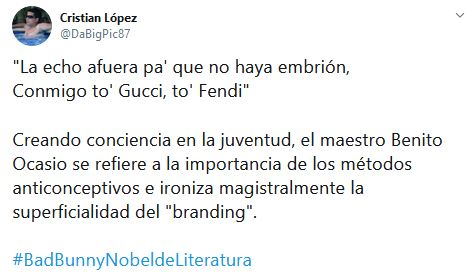 Pruebas de que Bad Bunny merece el Nobel de Literatura