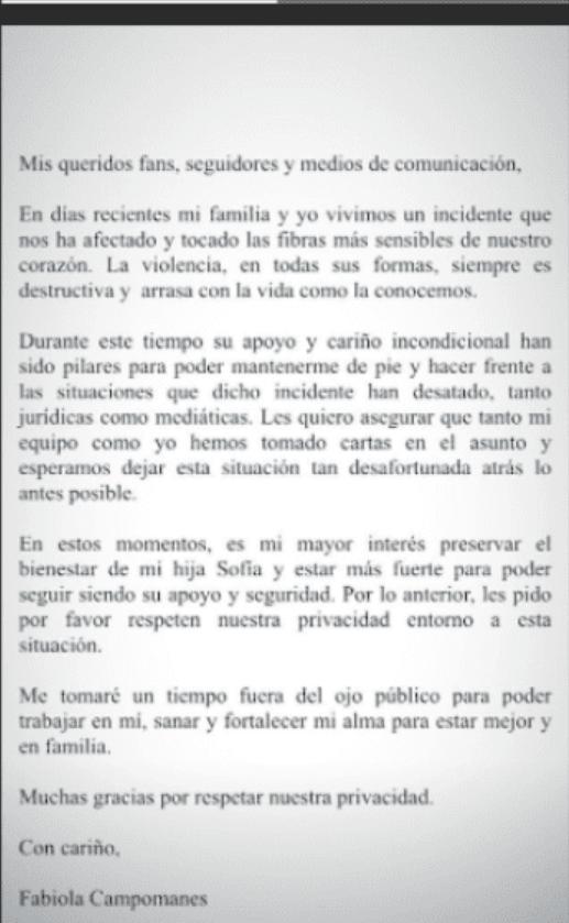 Fabiola Campomanes se retira tras polémica de Jonathan Islas