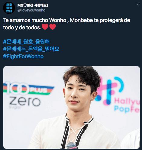 Monbebé defiende en redes a Wonho tras su salida de MONSTA X