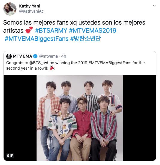"""ARMY BTS recibe premio de """"Mejores fans"""" en MTV EMA's"""