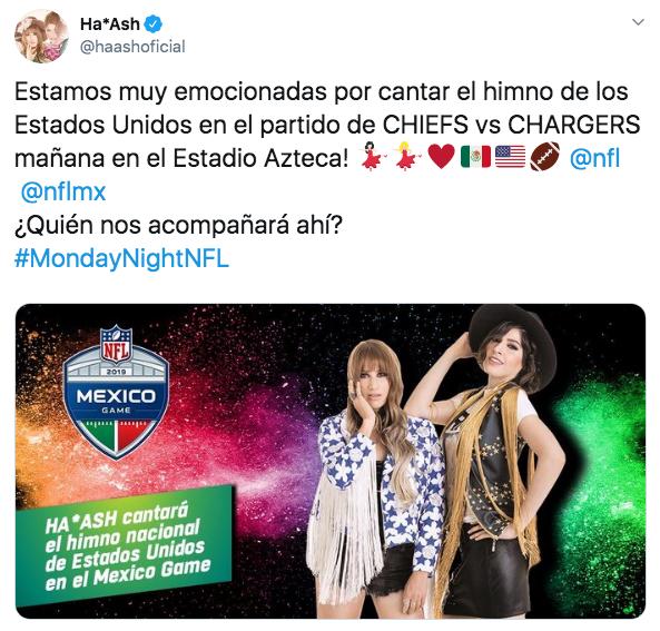 Ana Bárbara y Ha-Ash entonarán himnos nacionales en juego de la NFL