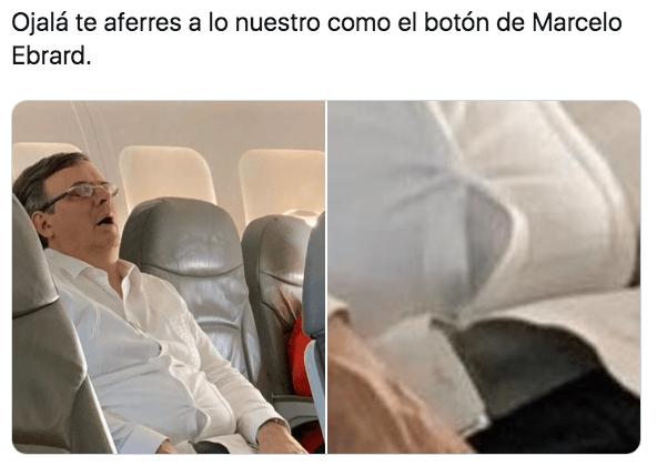 Los mejores memes de Marcelo Ebrard dormido en un avión