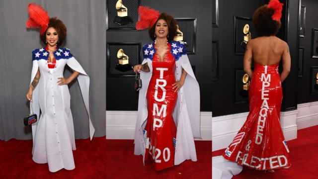 Joy Villa luce vestido pro Trump en los premios Grammys 2020
