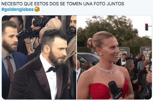 Chris Evans y Scarlett Johansson en los globos de oro 2020