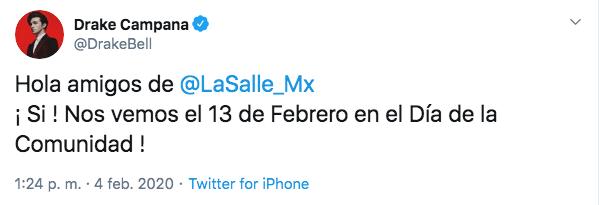 Drake Bell tocará en universidad La Salle de la CDMX