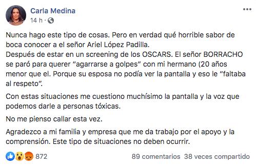 Carla Medina acusa a Ariel López Padilla de borracho violento
