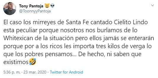 "Vecinos de Santa Fe cantan ""Cielito Lindo"" durante cuarentena por Coronavirus"