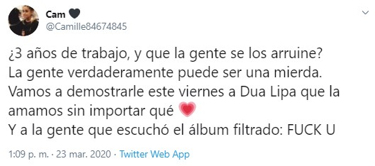Dua Lipa llora por filtracion de su album Future Nostalgia