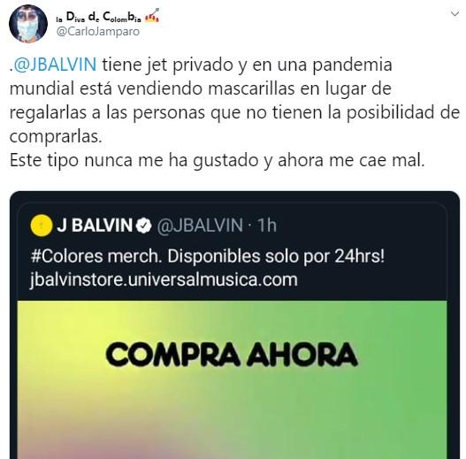 J Balvin criticado por vender mascarillas en pandemia por Coronavirus