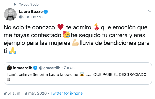 Laura Bozzo y Cardi B se conocen