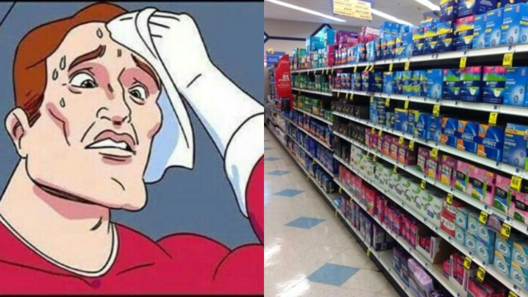 Hombres sufriendo al comprar toallas sanitarias y tampones