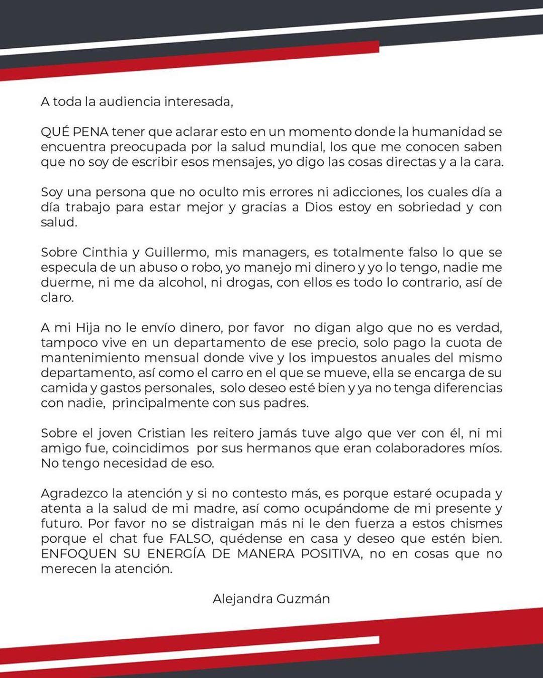 Alejandra Guzman desmiente mantener a Frida Sofia