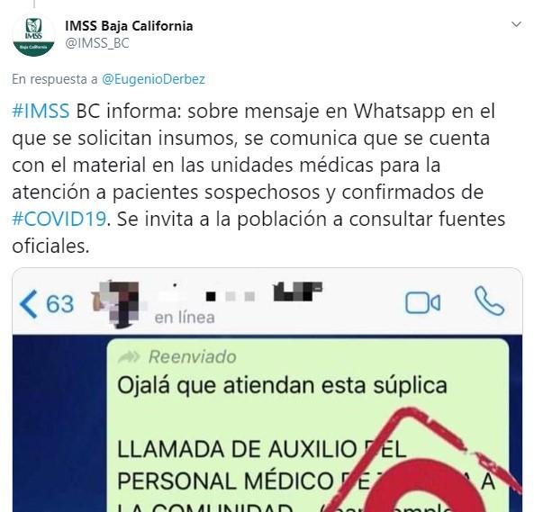Eugenio Derbez comparte Fake News sobre Coronavirus en Tijuana: IMSS lo desmiente