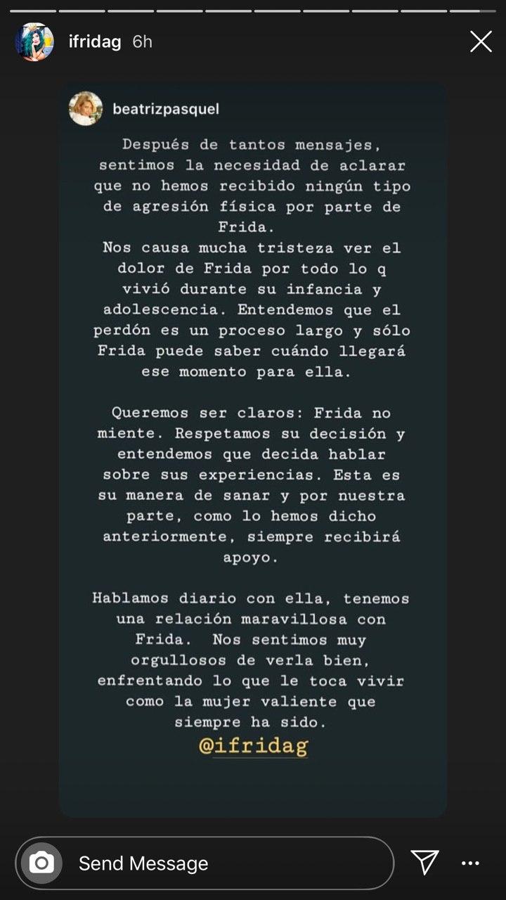 Beatriz Pasquel desmiente a Alejandra Guzman en defensa de Frida Sofía