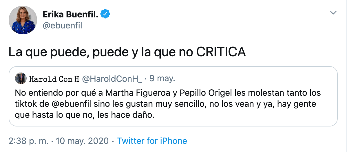 Erika Buenfil responde críticas de Pepillo Origel