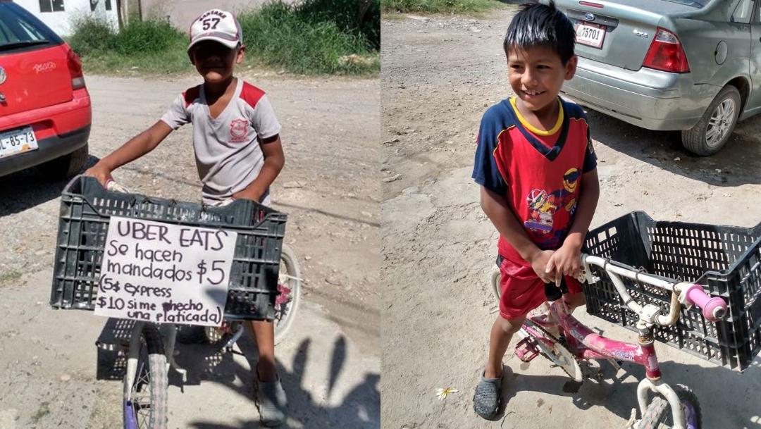 Niño Iker hace mandados a domicilio en Tamaulipas viral