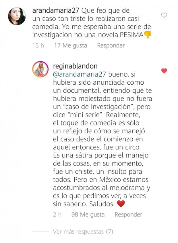 """Regina Blandón es criticada por su actuación en la serie del """"Caso Paulette"""""""