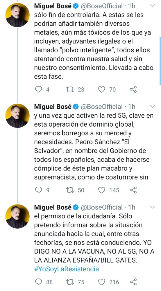 Miguel Bosé arremete contra las vacunas