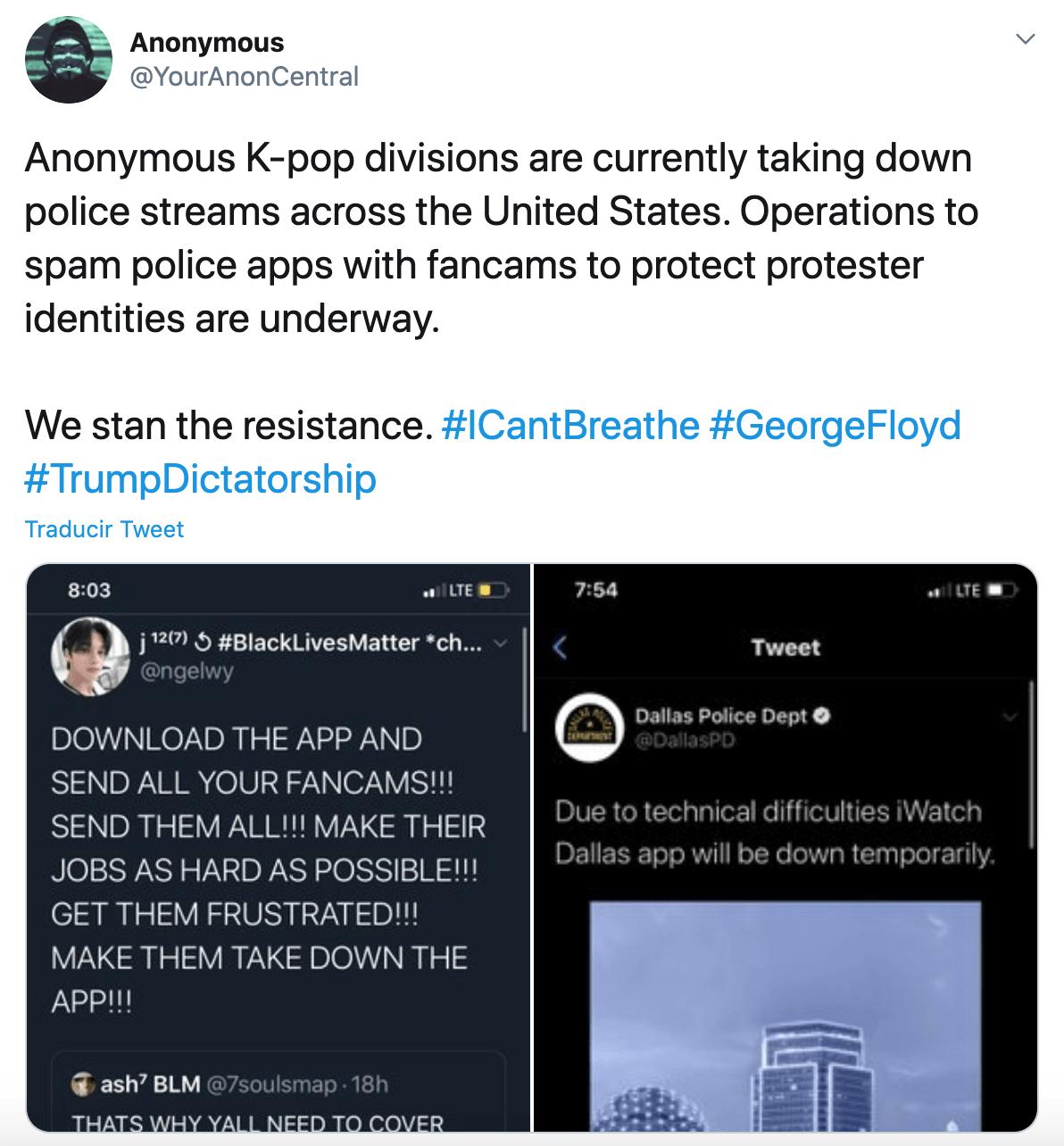 Fans de kpop se unen con Anonymous para proteger a manifestantes de Black Lives Matter