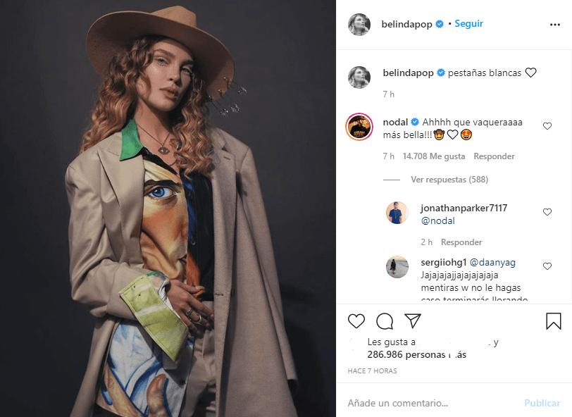 Nodal y Belinda ya se hacen comentarios de amor en Instagram