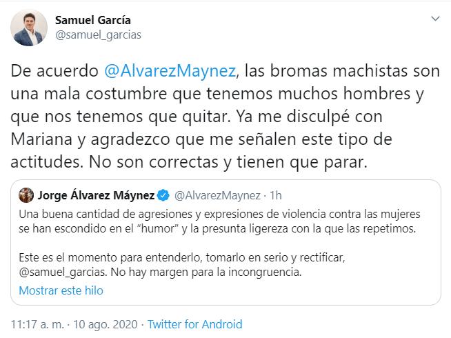 Samuel García le grita a Mariana Rdz por enseñar la rodilla