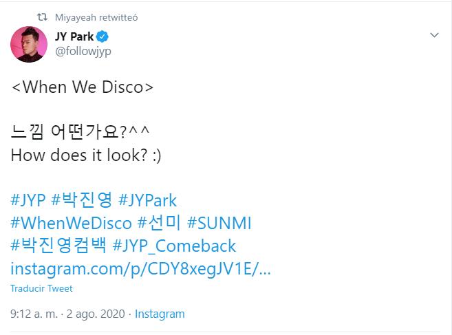 Sunmi anuncia When We Disco su canción con JY Park