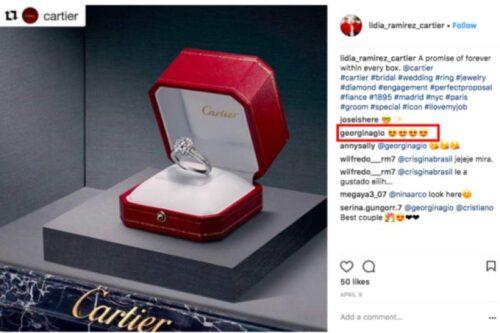 Anillo Georgina Rodríguez Instagram