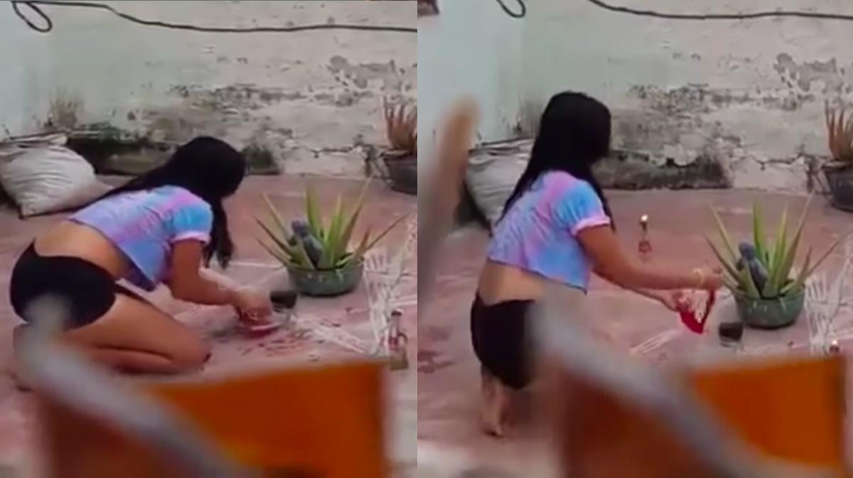 ¿Agua de calzón? Mujer es captada haciendo un amarre de amor
