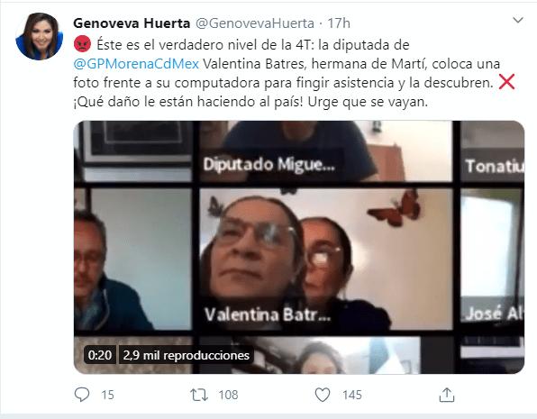 Diputada Valentina Batres finge estar en reunión virtual y fija una foto como si pusiera atención