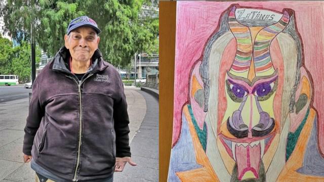 Don Valdemar, el viejito de los dibujos monta exitosa exposición en Reforma