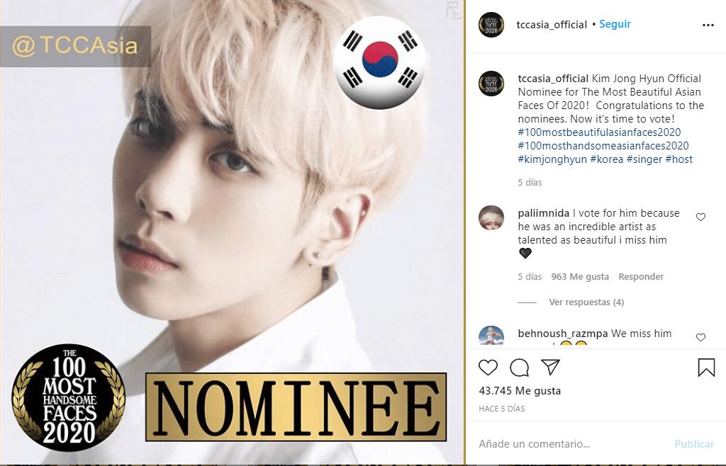 Jonghyun, idol fallecido de SHINee, es nominado a los 'Rostros Más Bellos de Asia 2020'