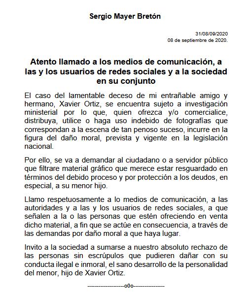 Muerte de Xavier Ortiz será investigada como homidicio, asegura Sergio Mayer
