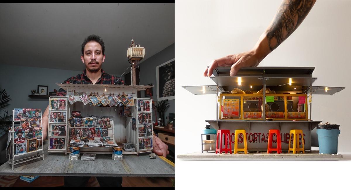 Mexicano recrea puestos de tortas y revistas de la CDMX en miniatura
