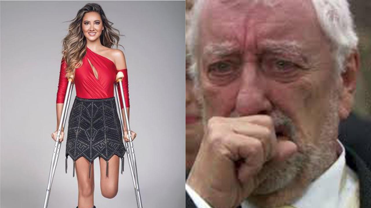 Daniella Álvarez llorando de emoción tras regresar a nadar