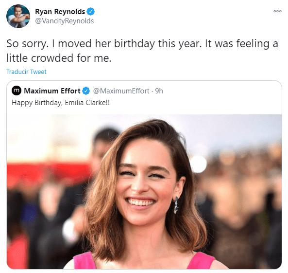 Ryan Reynolds esta molesto con Emilia Clarke