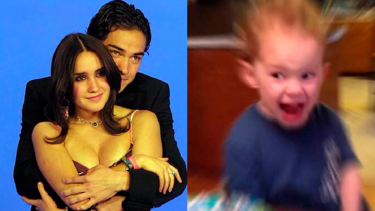 Dulce María con Alfonso Herrera y niño gritando de emoción