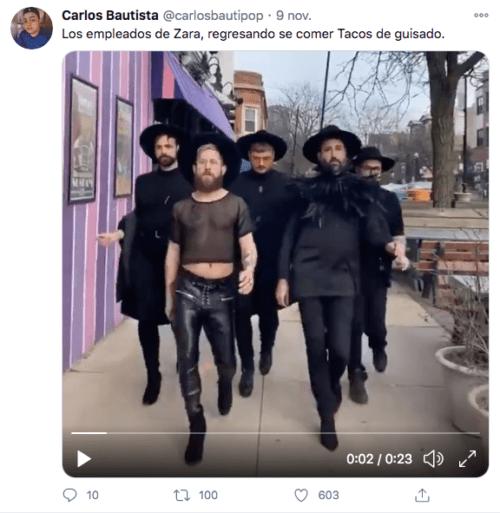 Meme empleados zara caminando por la calle
